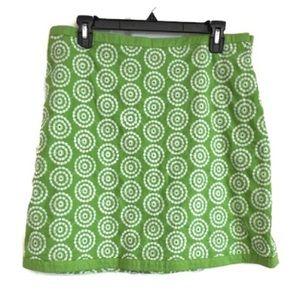 Boden Green Skirt White Embroidered Side Zip 14 10